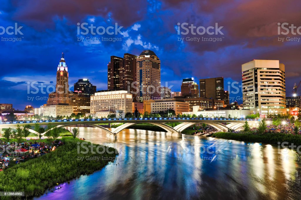 Columbus, Ohio along the Scioto River before the fireworks display stock photo