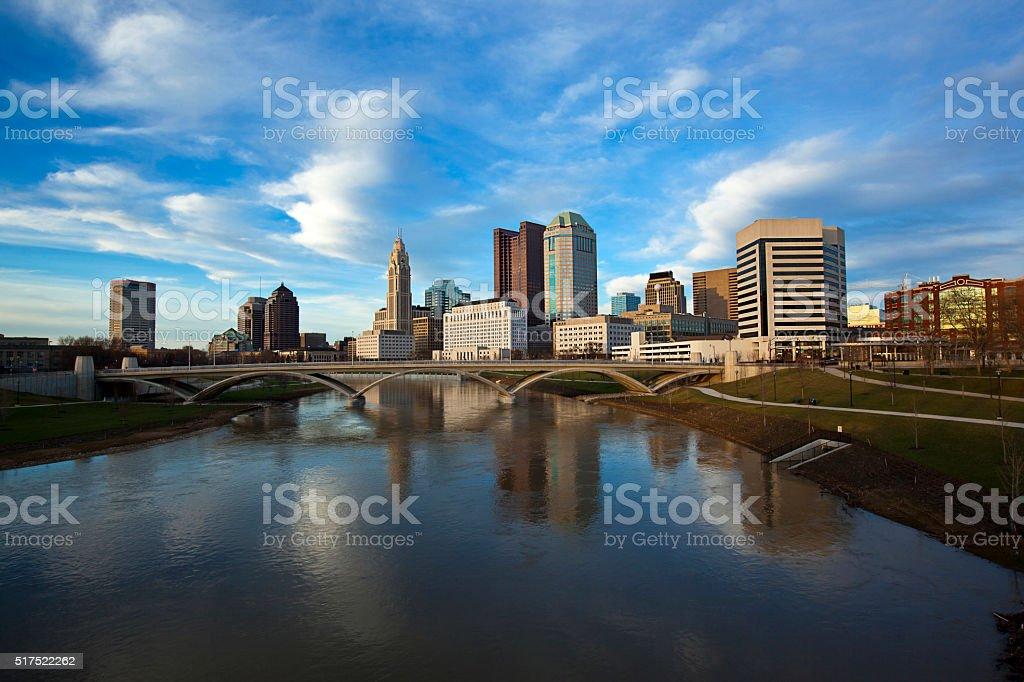 Columbus, Ohio along the Scioto river stock photo