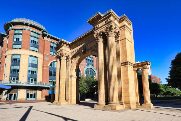 Columbus, Ohio Arch Park in the Arena District stock photo