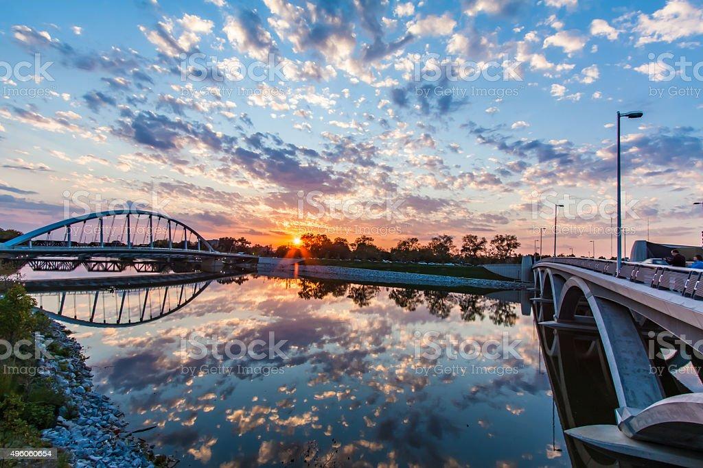 Columbus Ohio Bridges Spanning Scioto River Sunset Clouds Reflection  HDR stock photo