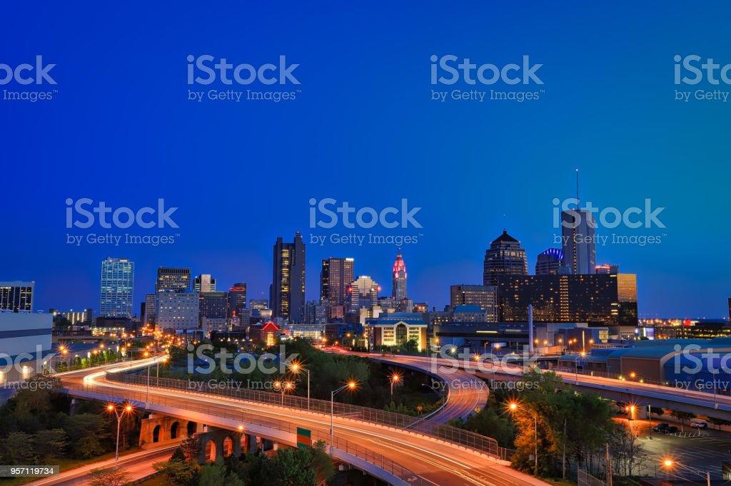 Columbus, Ohio skyline at sunset stock photo