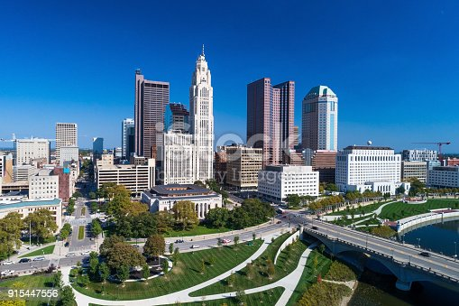 Elevated Aerial View of the Columbus, Ohio Skyline with the Battelle Riverfront Park, Scioto River, and Broad Street Bridge in the foreground.