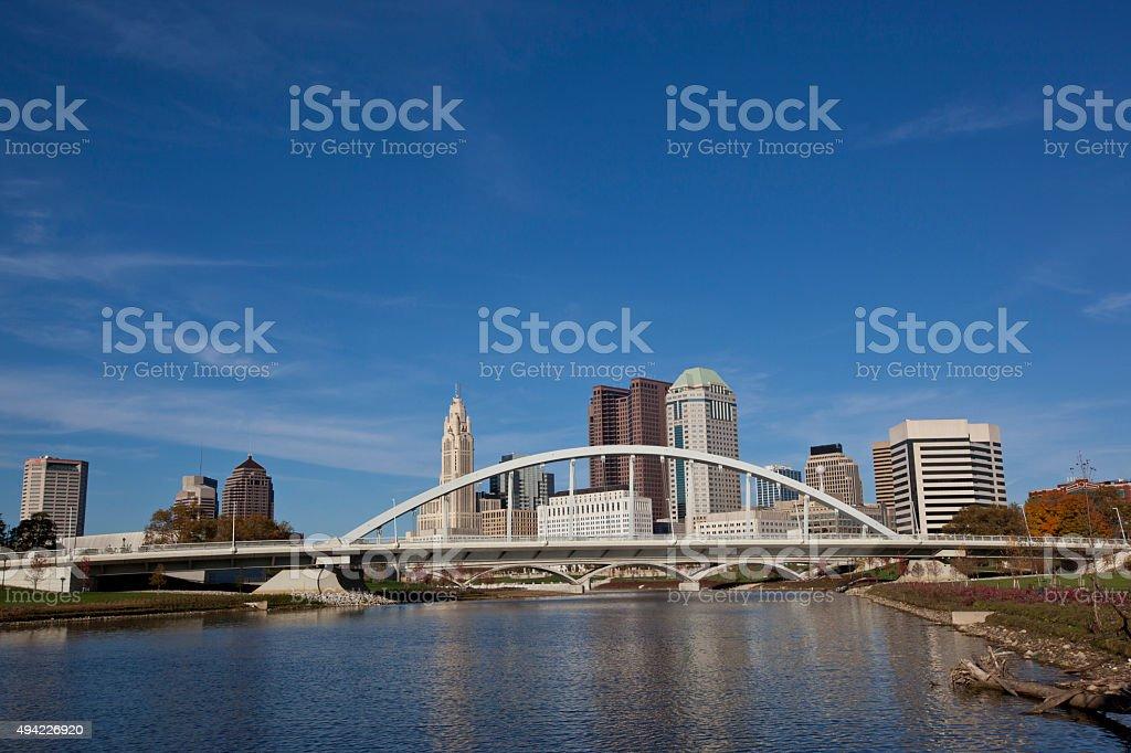 Columbus Ohio skyline with the Main Street Bridge in the foreground stock photo