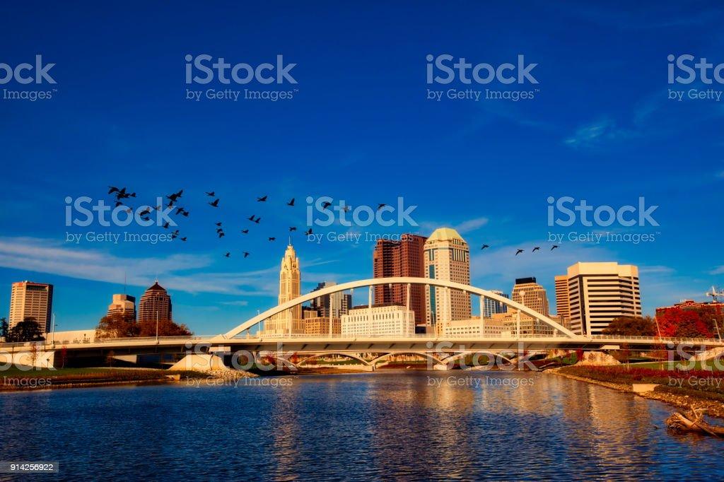 Columbus Ohio with the Main Street Bridge stock photo