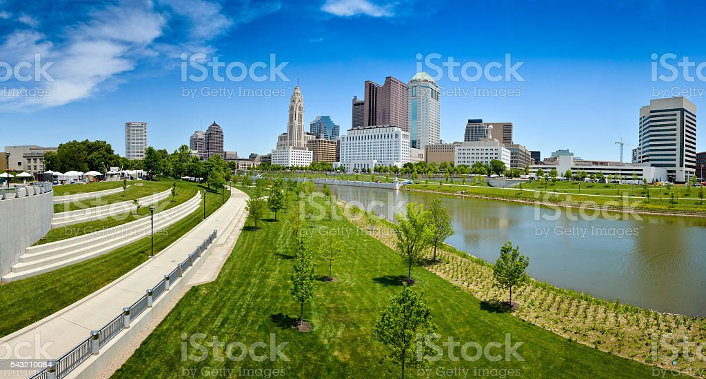 Columbus & Scioto River View stock photo