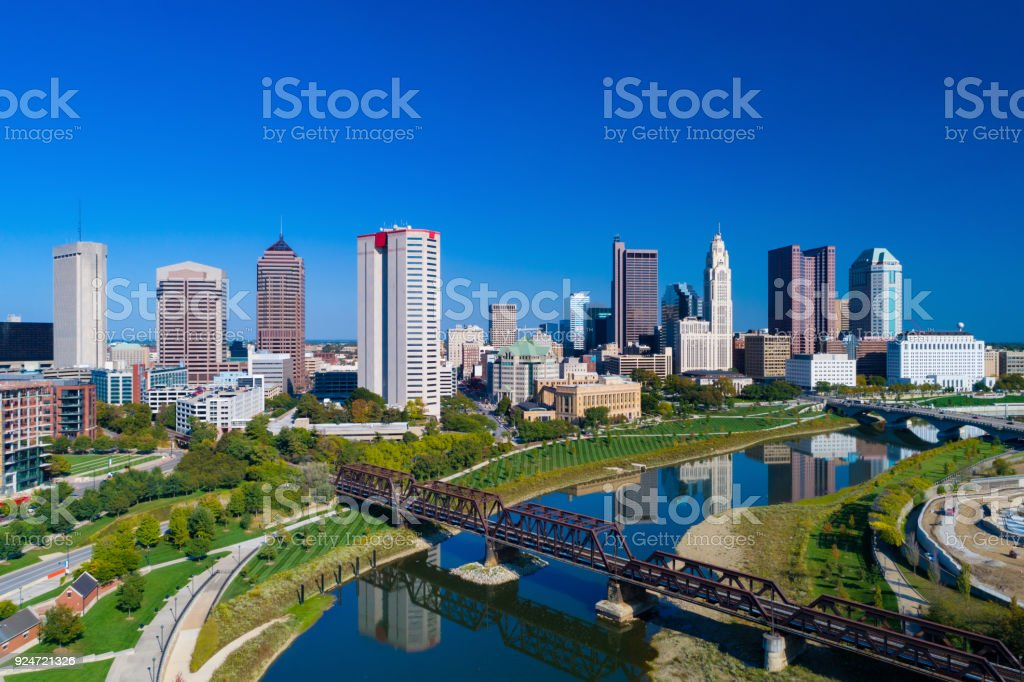 Columbus Skyline Aerial With River, Parks, and Railway Bridge stock photo