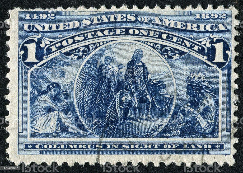Columbus Stamp royalty-free stock photo