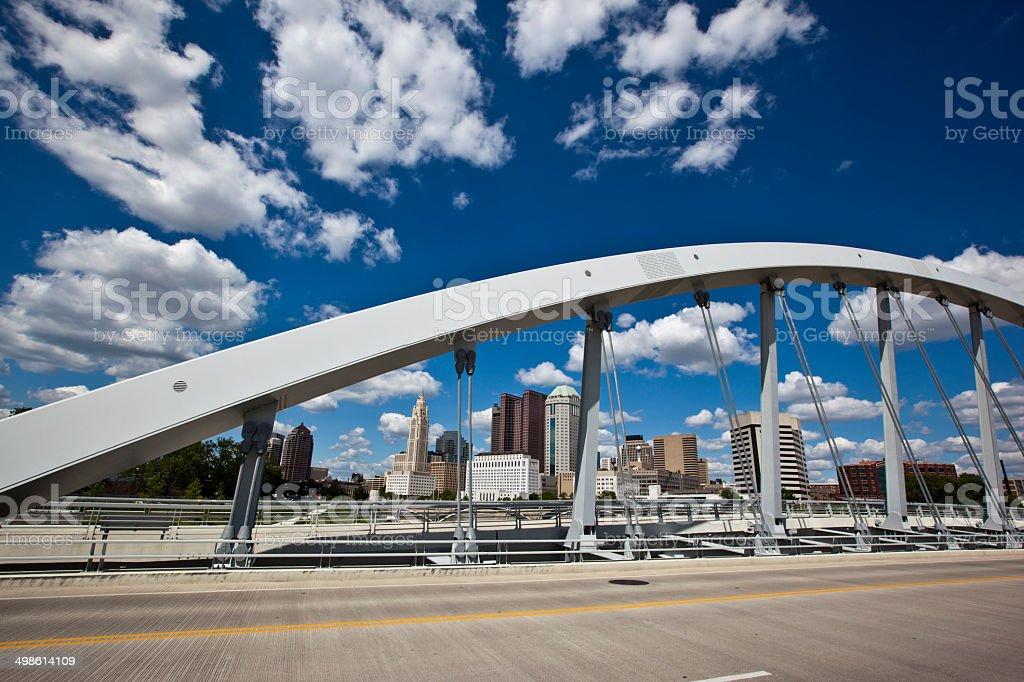 Columbus through the new Main Street Bridge stock photo
