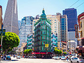 In July 2019, tourists were walking into the city of San Francisco and could admire the old green Columbus Tower