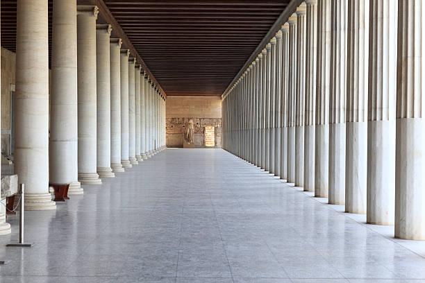 Column arcade of museum stock photo