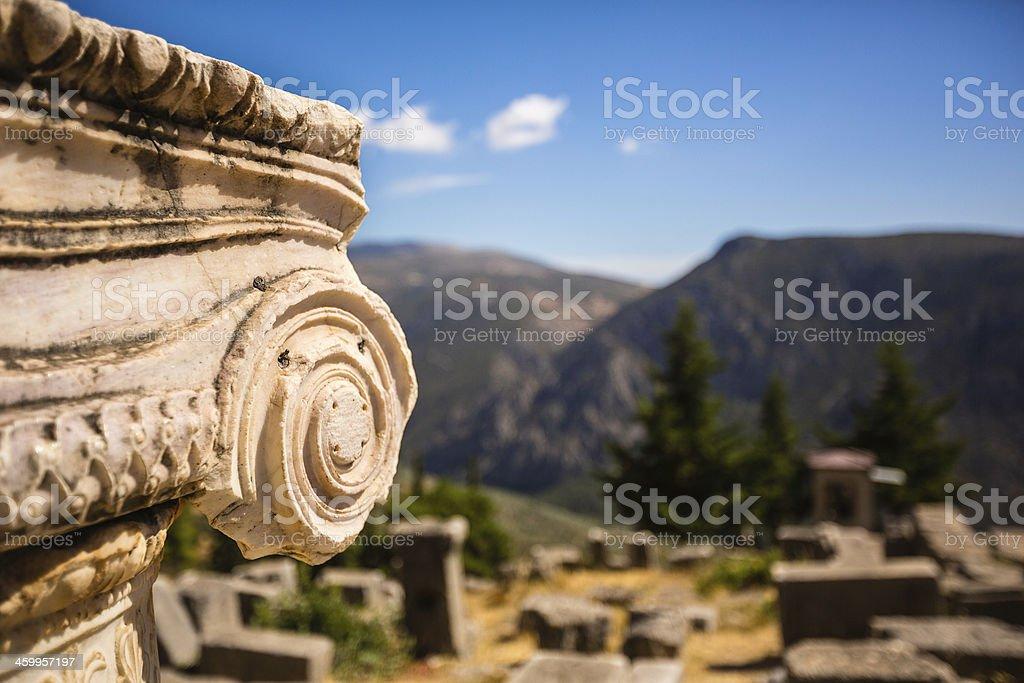 Column in Delphi, Greece stock photo
