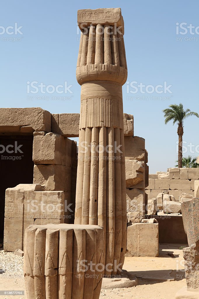Column in the form of a lotus flower stock photo