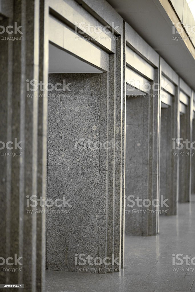 Column lined with granite stock photo