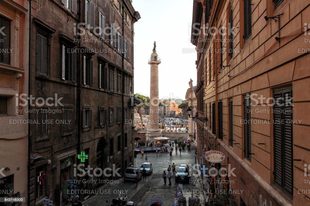Column of Trajan in the Roman forum stock photo
