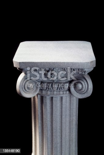 Gray pedestal on black