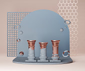 istock 3D column pedestal podium with copy space abstract background. Trendy pastel blue, marble and copper  pillar display on beige with geometric primitives levitating. 3D render product promotion template 1224210001