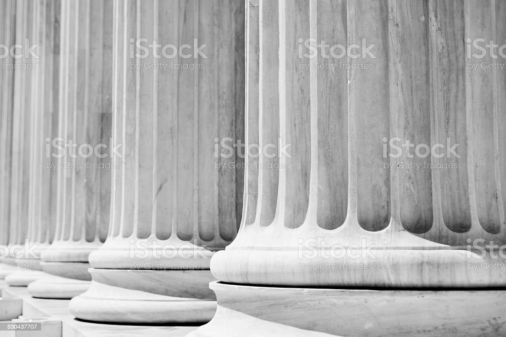 Column Pillars courthouse, black and white stock photo