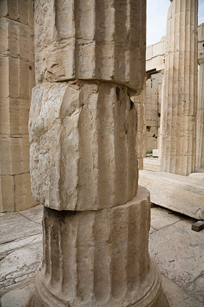 column stones at acropolis in athen - deviate stock pictures, royalty-free photos & images