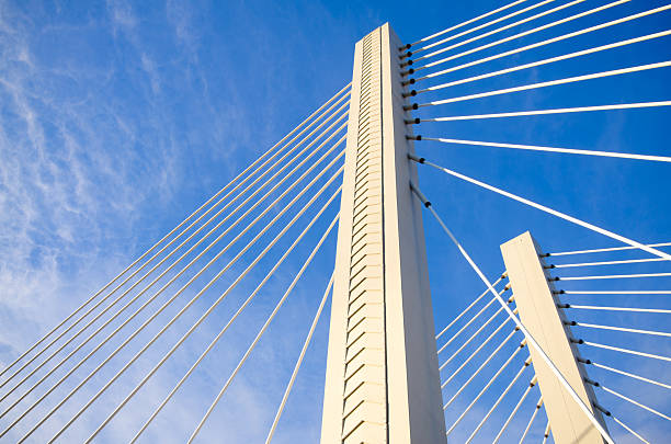 """Column with cables at Washington State route 509 in Tacoma """"Column with cables at Washington State route 509 bridge in Tacoma, WA spanning the Foss Waterway.Other images of Tacoma:"""" tacoma stock pictures, royalty-free photos & images"""