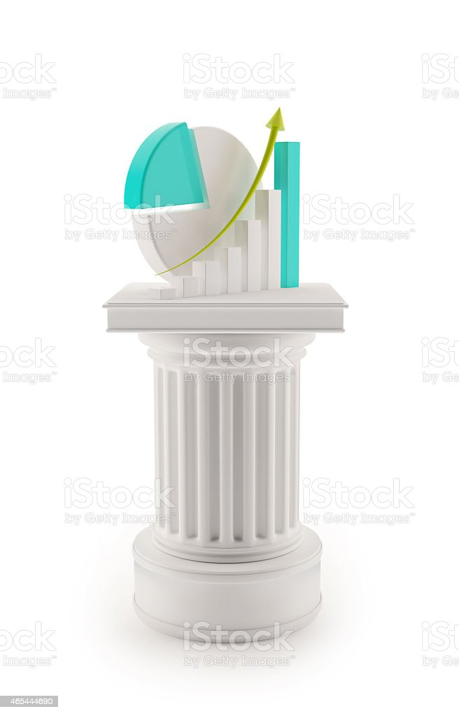 Column with charts  - report concept stock photo