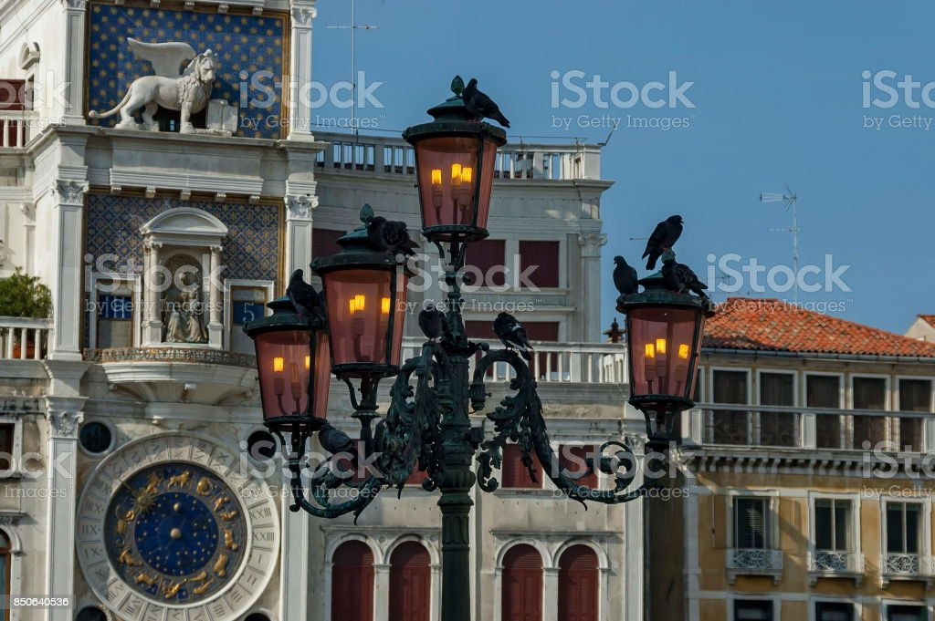 Column With Lion Of St Mark Symbol Of Imperial Venice Zodiac Clock