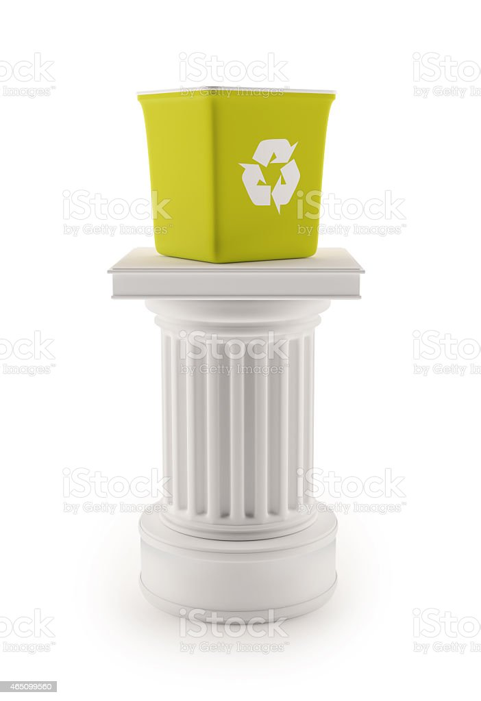 Column with recycle bin stock photo