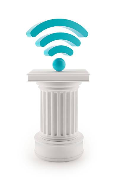 Column with wi-fi symbol stock photo