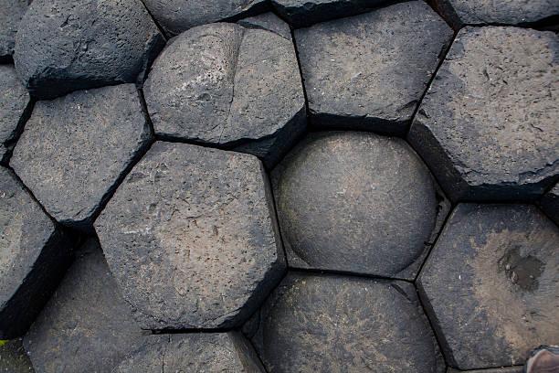 columnar basalt ends stock photo