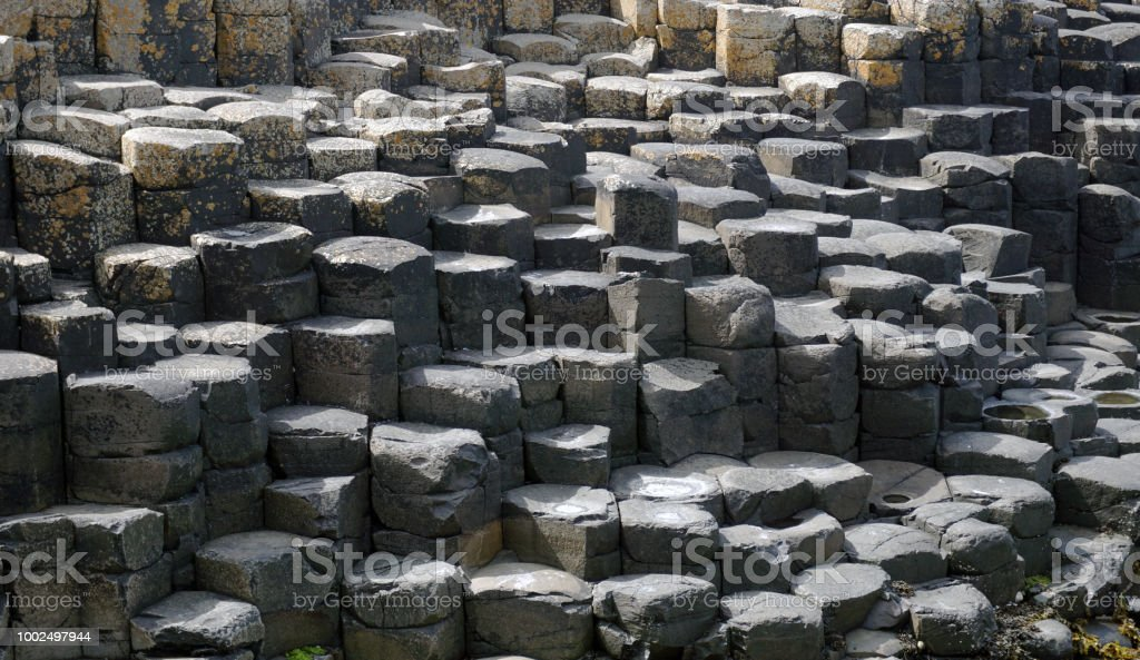Columnar jointing at the Giant's Causeway. stock photo