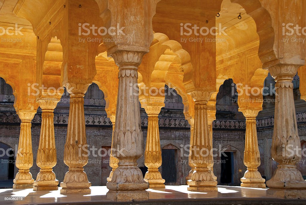 Columns and Arches In Amber Fort Jaipur, India stock photo