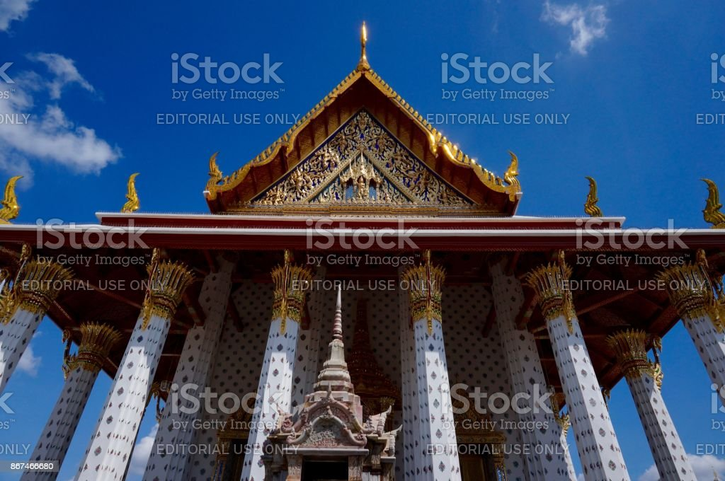 Columns and architecture at Wat Arun temple in Bangkok stock photo