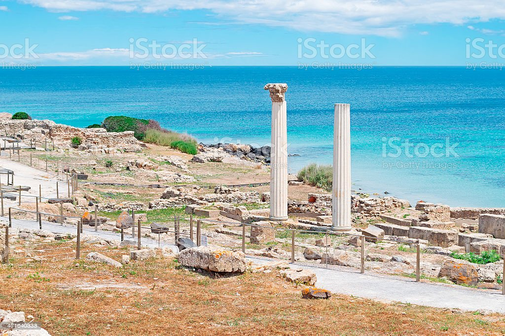 columns and blue water royalty-free stock photo