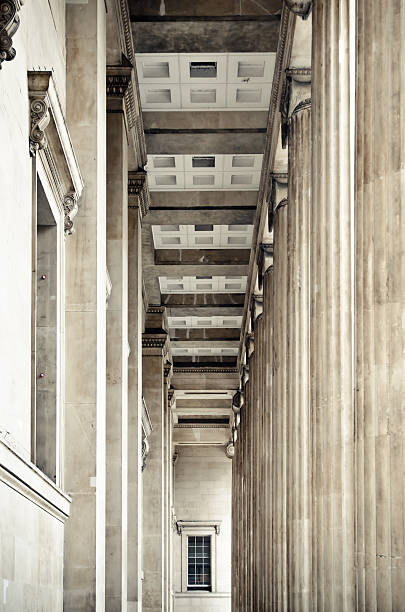 Columns and corridor at British Museum in London, England stock photo