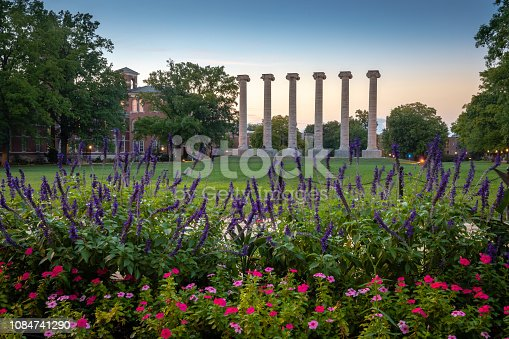 Architectural columns and flowers on the campus of University of Missouri. University of Missouri campus at sunset.