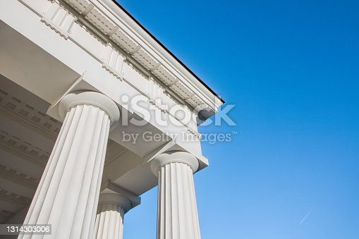 istock Columns and rooftop details of a Greek temple 1314303006