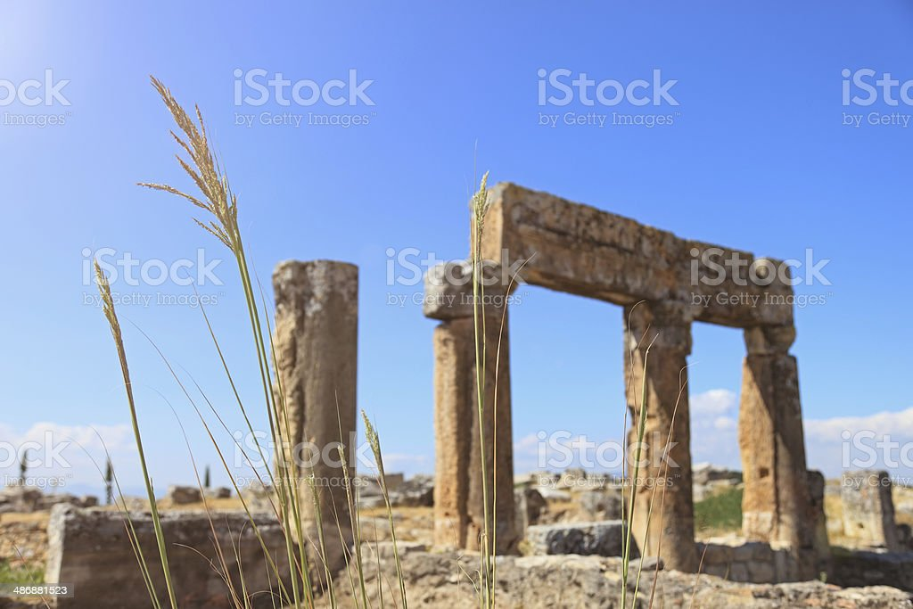 Columns And Ruins Of Hyerapolis Near Pamukkale, Turkey stock photo
