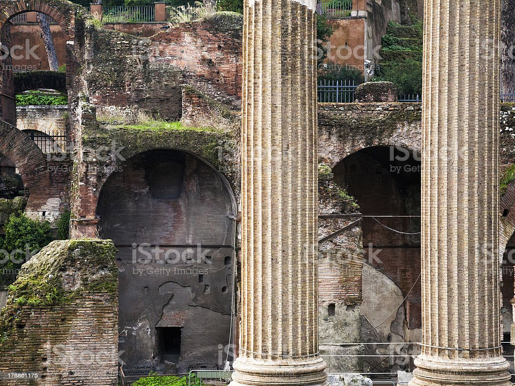 columns and ruins on Capitoline Hill, Rome, stock photo
