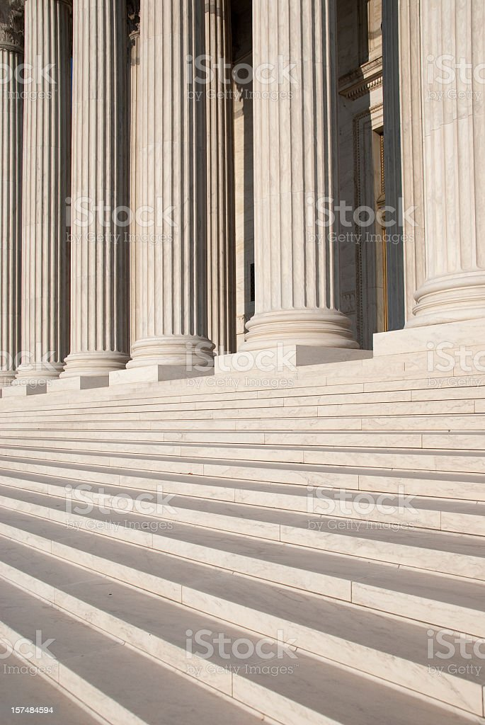 Columns and steps outside the US Supreme Court royalty-free stock photo