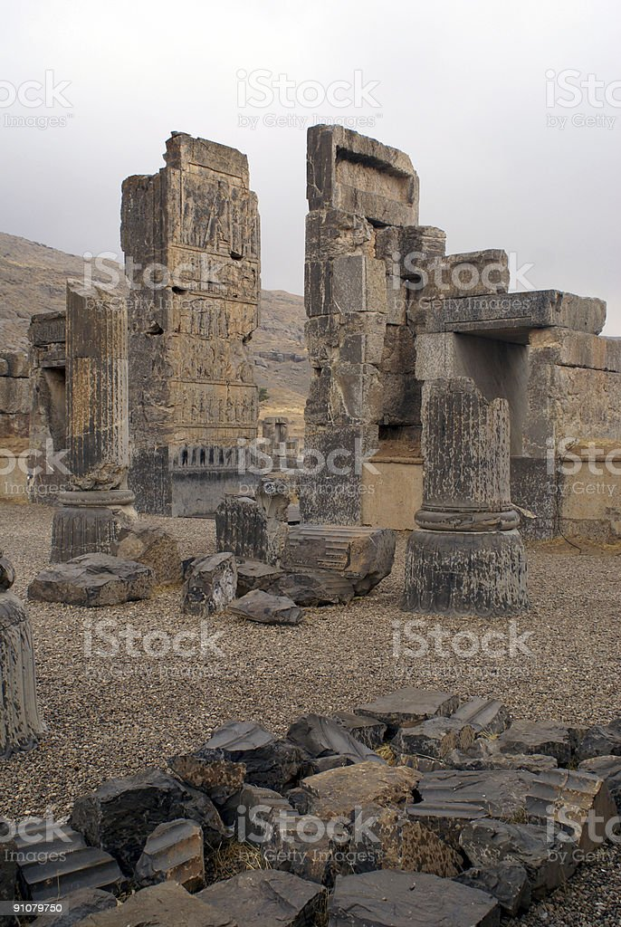 Columns and the Gate of Persepolis stock photo