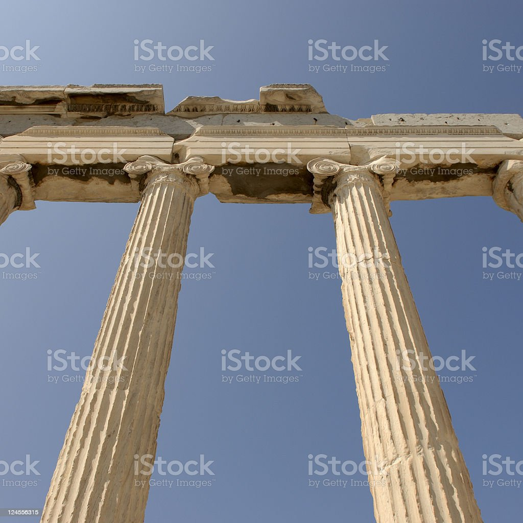 Columns at Acropolis stock photo
