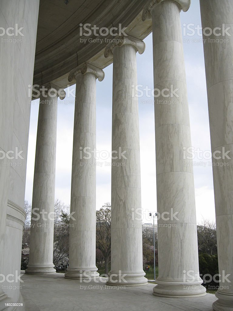 Columns at Jefferson Memorial royalty-free stock photo