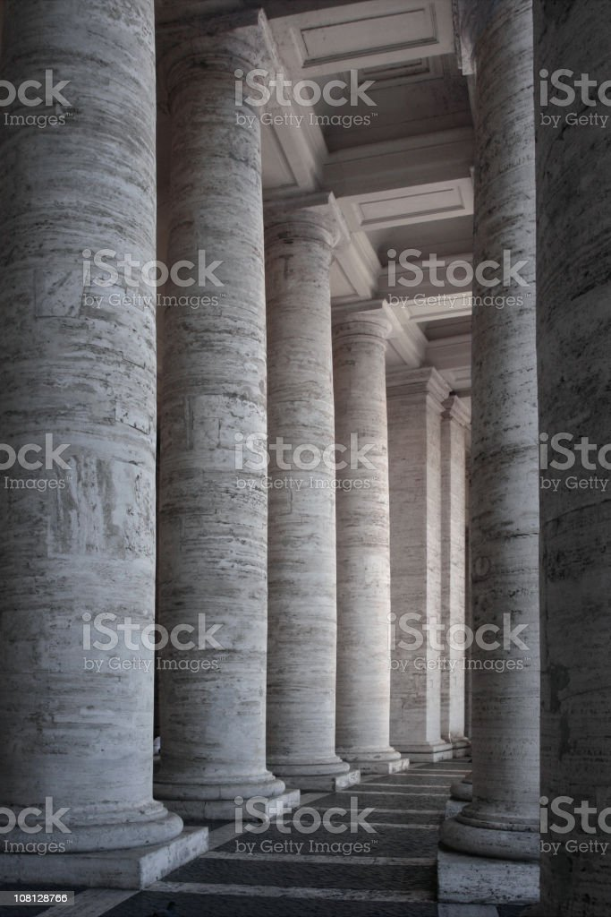 Columns at St.Peter's Square in Vatican City royalty-free stock photo