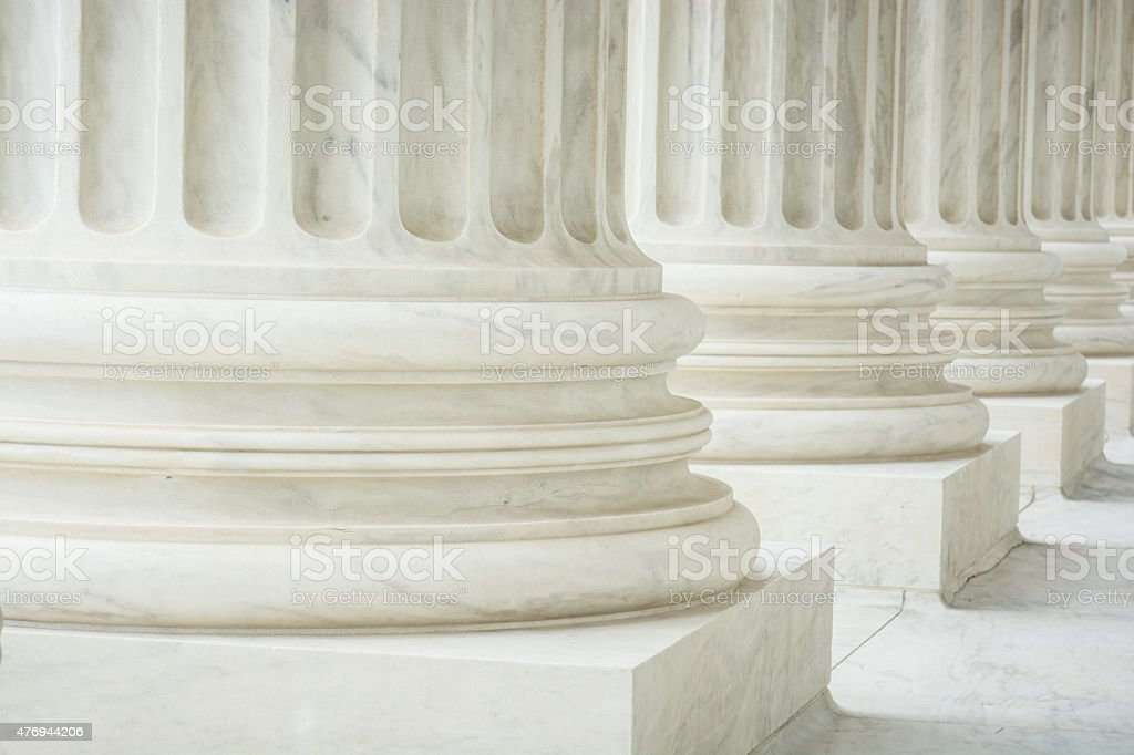 Columns at Supreme Court of the United States in Washington stock photo