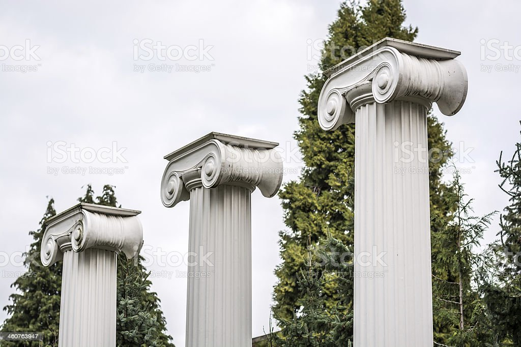 Columns at the University of Washington in Seattle royalty-free stock photo