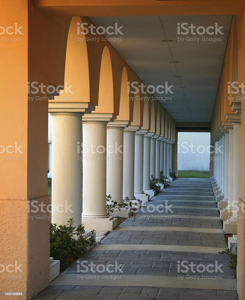 Columns - Corridor at  Dusk royalty-free stock photo