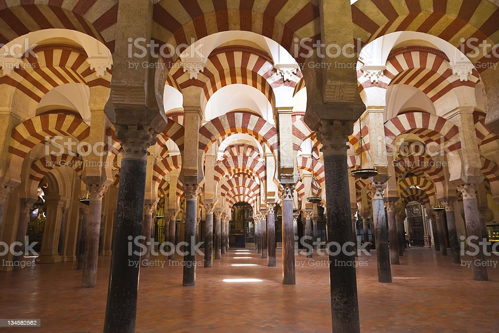 Columns forest located in Cordobas Mosque, Spain  stock photo