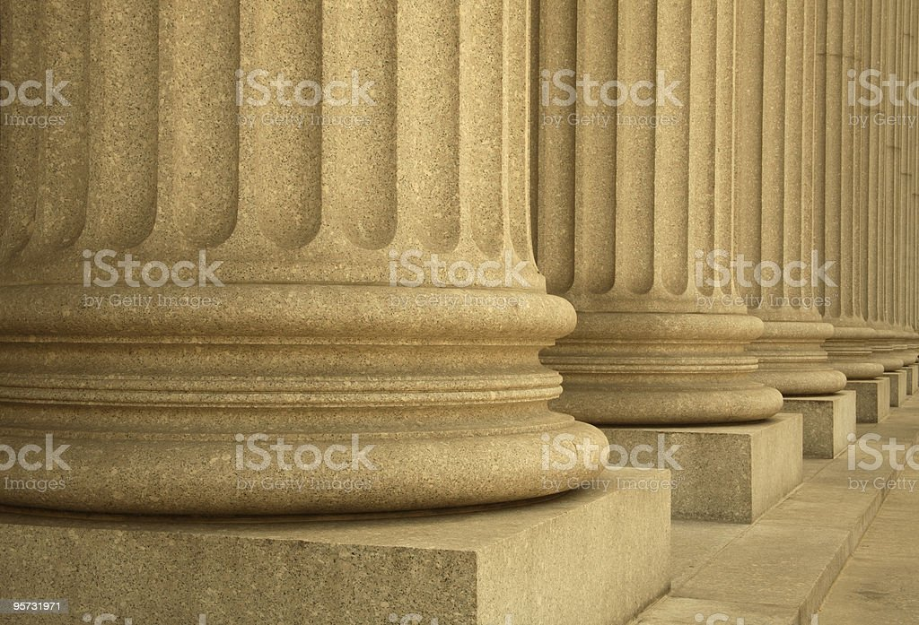 Columns forming a portico outside the Supreme Court stock photo