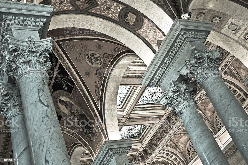 Columns from the Library of Congress in Washington DC stock photo