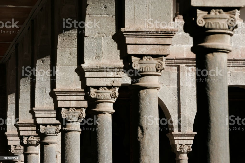 Columns in courtyard in Cusco royalty-free stock photo
