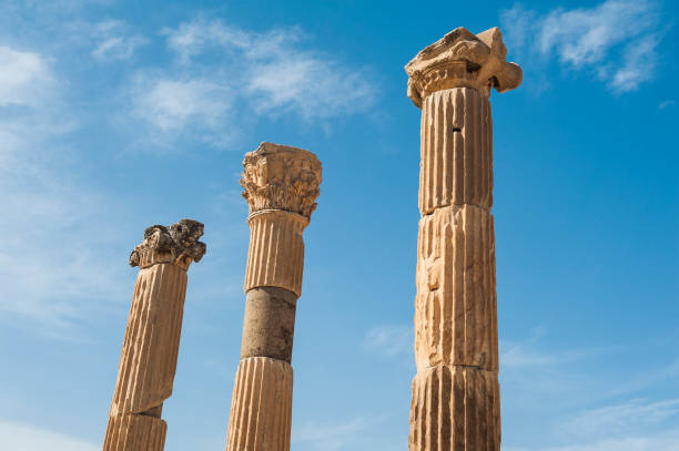 Columns in Ephesus Row of Columns in the ruins of ancient Greek city of Ephesus celsus library stock pictures, royalty-free photos & images
